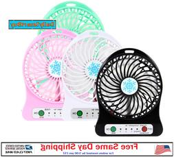 Portable Rechargeable LED Light Fan Air Cooler Mini Desk USB