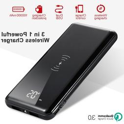 Qi Wireless Charger 100000mah 5V/2.1A Power Bank with 2USB P