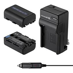 Powerextra 2 Pack Replacement Sony NP-FM50 Battery and Trave