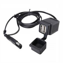 MICTUNING SAE to USB Cable Adapter 2.1A Dual Port Power Sock