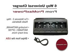 Two Way Radio 6 Bank Port Battery Charger for Motorola NNTN4