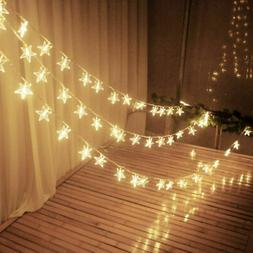 US Warm White LED String Star Fairy Lights Home Bedroom NewY