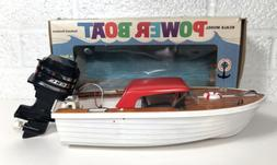 Vintage Scale Model Battery Outboard Toy Boat Physio Chem Co